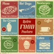 Set of vintage food posters — Stock Vector