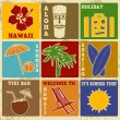 Set of vintage Hawaii labels or posters — Stock Vector