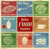 Set of vintage food posters — Vettoriale Stock