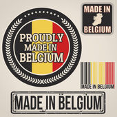 Made in Belgium stamp and labels — Stock Vector