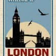 Big ben tower from London retro poster — Stock Vector