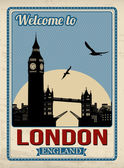 Big ben tower from London retro poster — Vector de stock