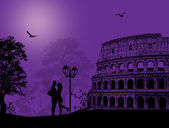 Couple silhouette in Rome — Stock Vector