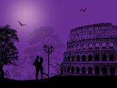在罗马的夫妇剪影 — 图库矢量图片
