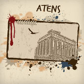 Parthenon from Athens retro poster — Stock Vector