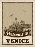 Welcome to Venice retro poster — Stock Vector