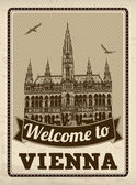 Welcome to Vienna retro poster — Stock Vector