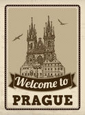 Welcome to Prague retro poster — Stock Vector