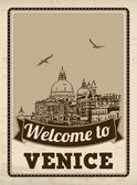 Welcome to Venice retro poster — Stock Vector