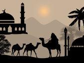 Caravana de beduinos camellos — Vector de stock