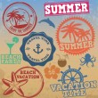 Set of summer vacation stamps — Stock Vector