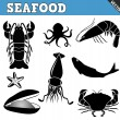 Seafood icons set — Stockvektor