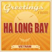 Ha Long Bay vintage poster — Stock Vector