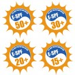 Set of stamps with Eye Sun Protection Factor ( E-SPF) — Stock Vector #45397625
