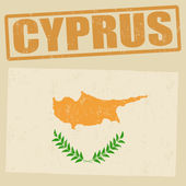 Cyprus grunge flag and stamp on vintage background — Stock Vector