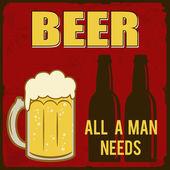 Cerveza, todo un hombre necesita cartel retro — Vector de stock