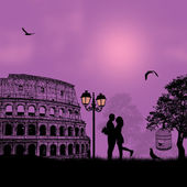 Couple silhouette Colosseum in Rome — Stock Vector
