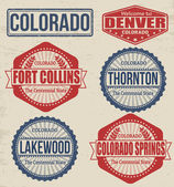Set of Colorado cities stamps — Stock Vector