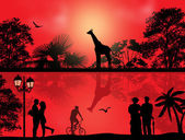 Safari park and people silhouette on sunset — Stock Vector