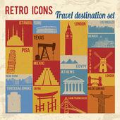 Travel destination icons set — Stock Vector