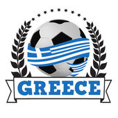 Soccer ball with greek flag — Stock Vector