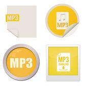 Sada ikon mp3 — Stock vektor
