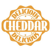 Delicious cheddar stamp or label — Stock Vector