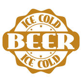 Ice cold beer stamp or label — Stock Vector