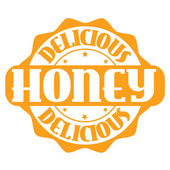 Delicious honey stamp or label — Stock Vector