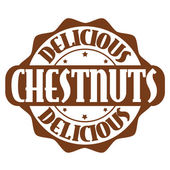 Delicious chestnuts stamp or label — Stock Vector