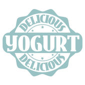 Delicious yogurt stamp or label — Stock Vector