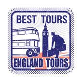 England tours stamp — Vetorial Stock