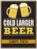 Cold larger beer retro poster — Stock Vector