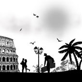 Couple silhouette in love in front of Colosseum in Rome — Stock Vector
