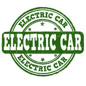 Electric car stamp — Stock Vector