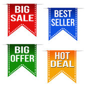 Big sale, best seller, big offer and hot deal ribbons — Stock Vector