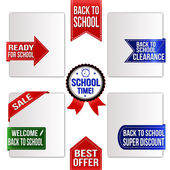 Collection of various back to school promo ribbons — Stock Vector
