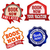 Book now  label, sticker or stamps — Stock vektor