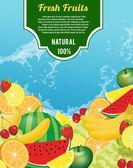Olika färska frukter bakgrund — Stockvektor