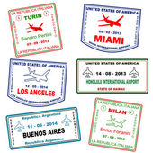 Passport travel grunge stamps — 图库矢量图片