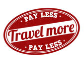 Travel more pay less stamp — Stock Vector