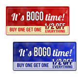 Bogo coupon, voucher, tag — Stok Vektör