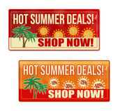 Hot summer deals coupon, voucher, tag — Stock Vector