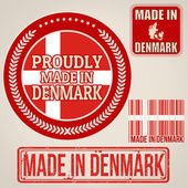 Made in Denmark set of stamps and labels  — Stock Vector