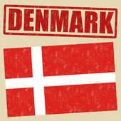 Denmark flag and stamp — Stock Vector