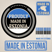 Made in Estonia set of stamps and labels — Stock Vector