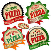 Pizza label, sticker or stamps — Vector de stock