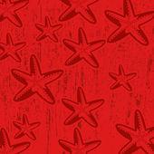 赤星の魚とパターン — ストックベクタ