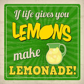 If life gives you lemons make lemonade retro poster — Stock Vector