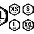 Size clothing stickers or labels — Stock vektor